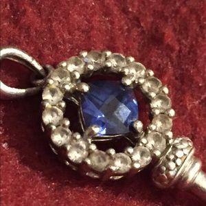 Real Silver/Sapphire Key Pendant